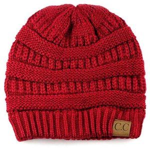 3/$45 C.C Vibrant Red Yarn Knit Beanie Hat